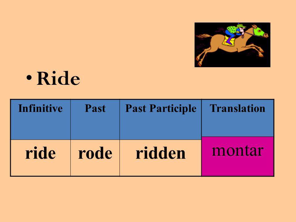 Ride InfinitivePastPast Participle rideroderidden Translation montar