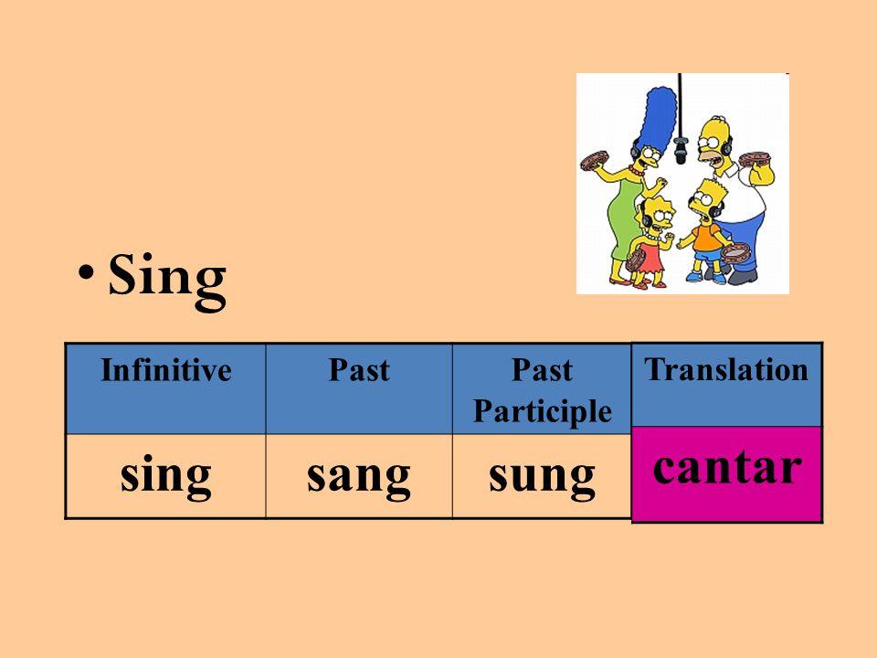 Sing InfinitivePastPast Participle singsangsung Translation cantar
