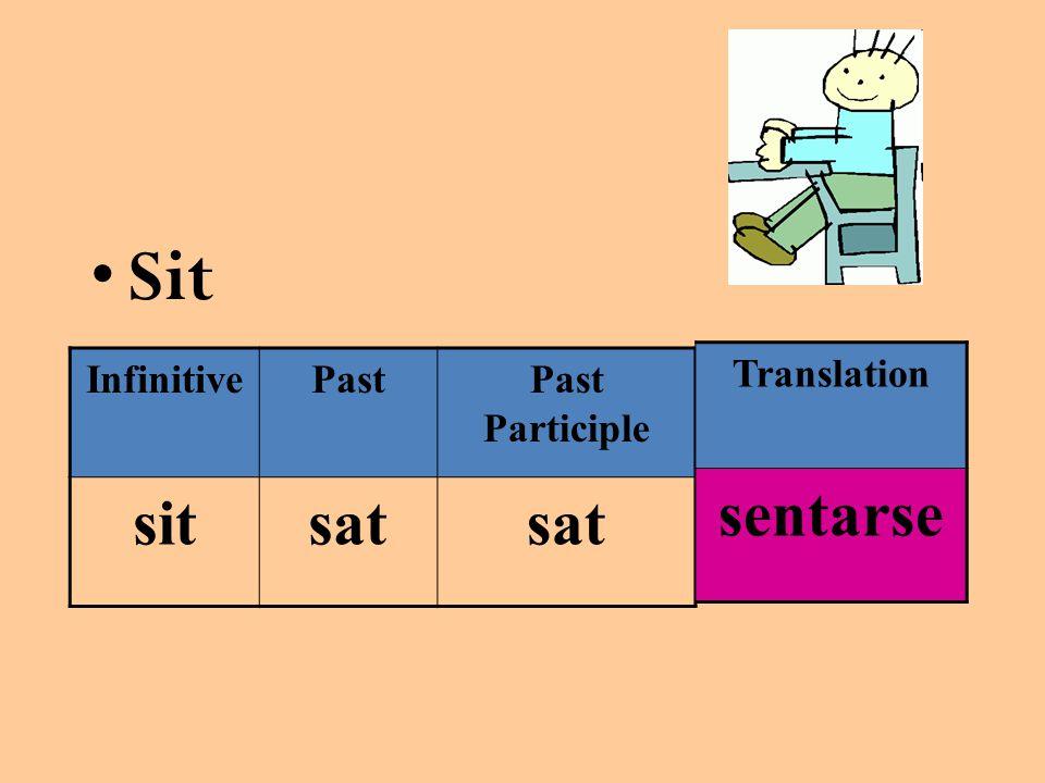 Sit InfinitivePastPast Participle sitsat Translation sentarse