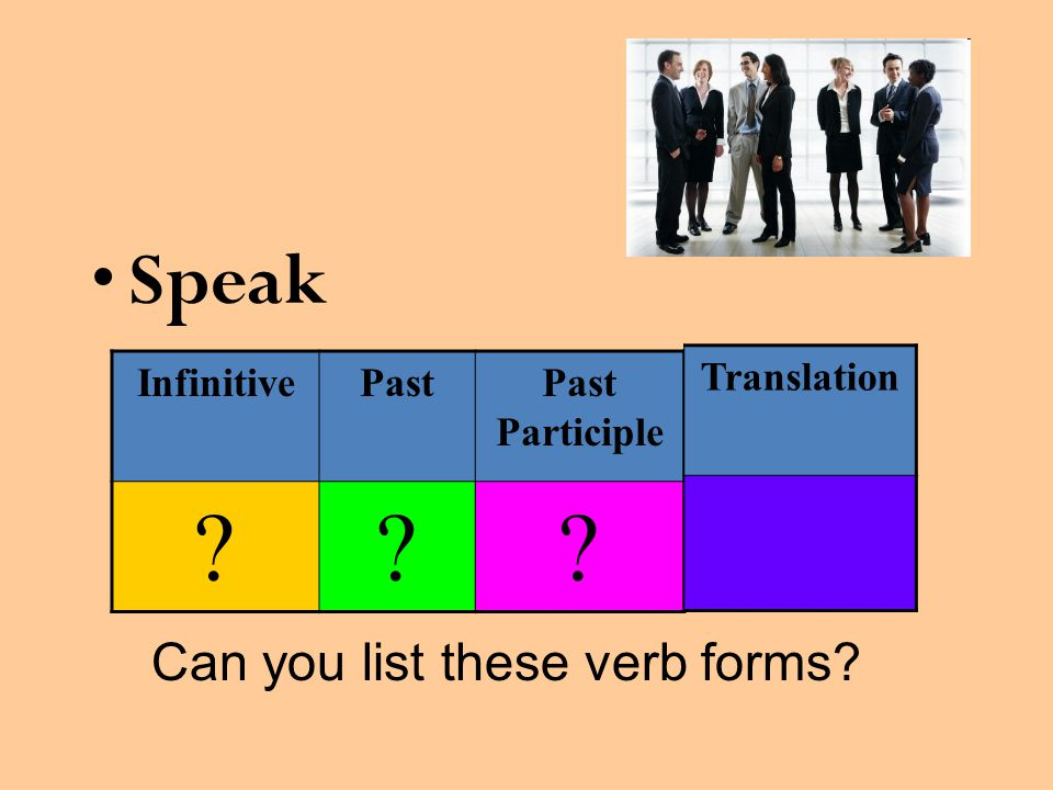 Speak Can you list these verb forms? InfinitivePastPast Participle ??? Translation