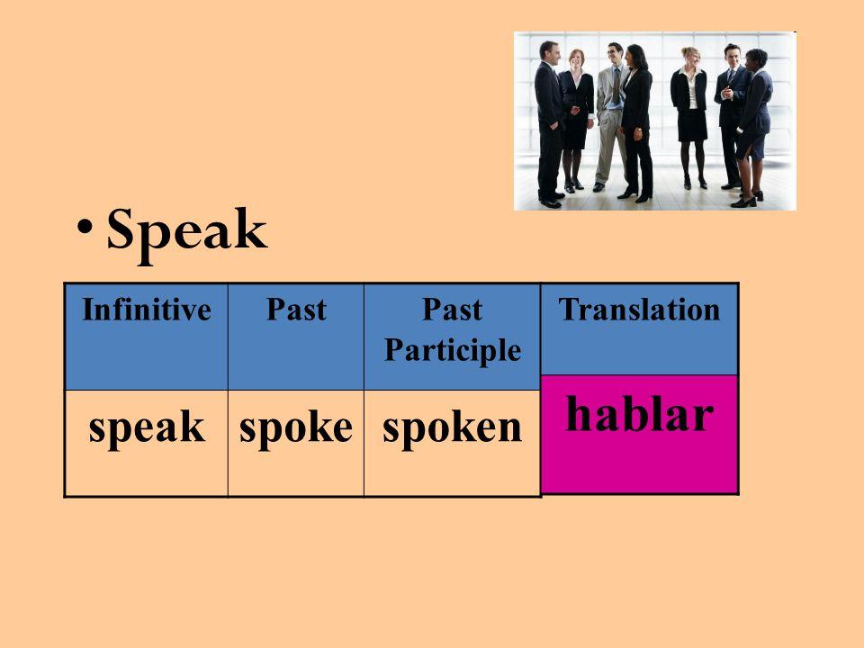 Speak InfinitivePastPast Participle speakspokespoken Translation hablar