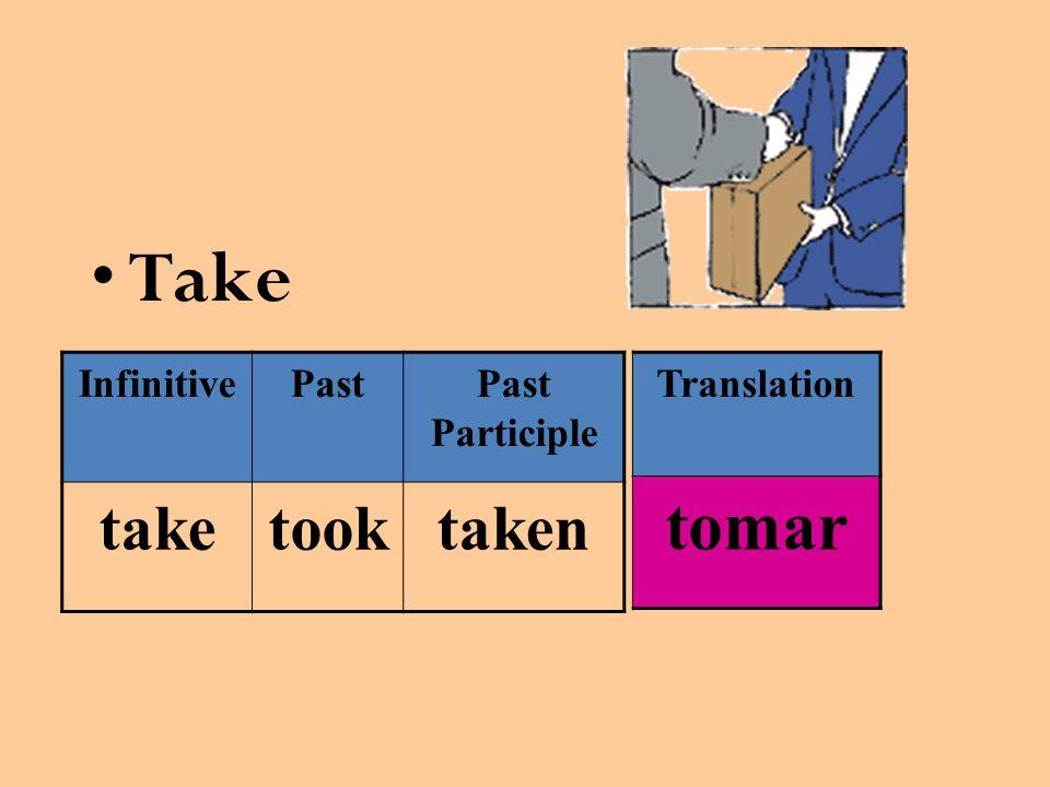Take InfinitivePastPast Participle taketooktaken Translation tomar