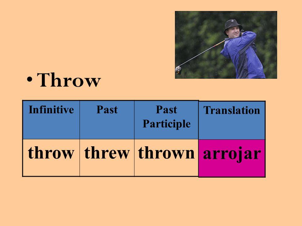 Throw InfinitivePastPast Participle throwthrewthrown Translation arrojar