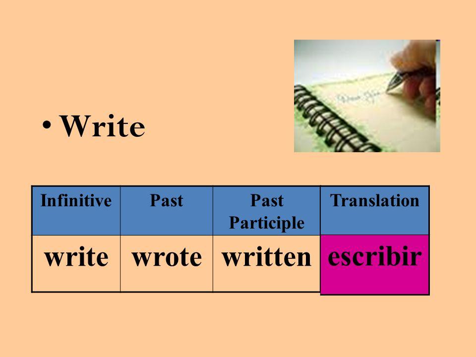 Write InfinitivePastPast Participle writewrotewritten Translation escribir
