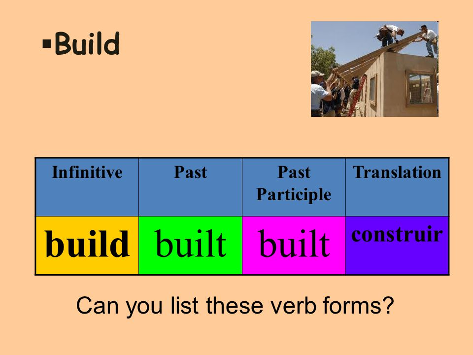  Build InfinitivePastPast Participle Translation buildbuilt construir Can you list these verb forms?