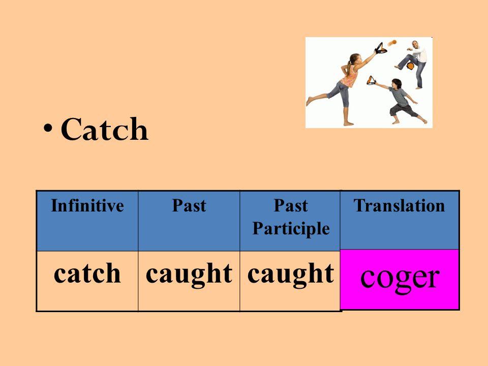Catch InfinitivePastPast Participle catchcaught Translation coger