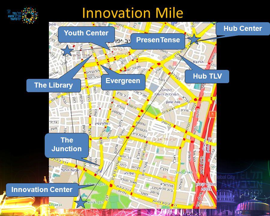 Innovation Mile Hub TLV Hub Center The Library The Junction Innovation Center Evergreen Youth Center PresenTense