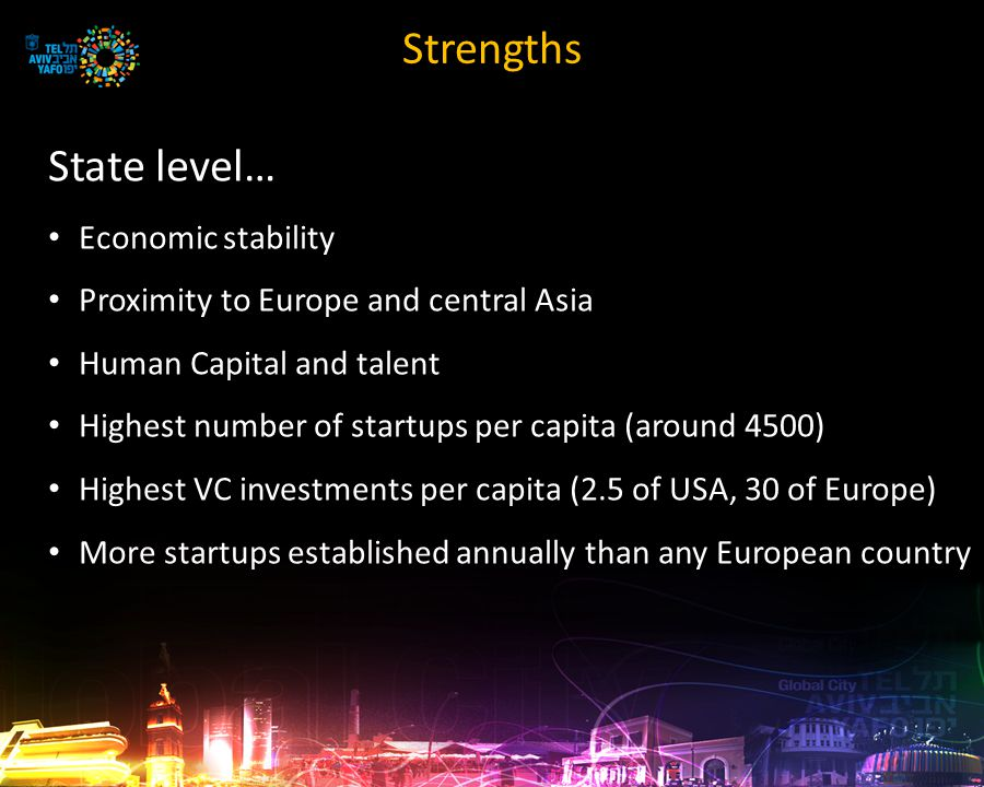 Strengths City level… The largest metropolis in the country Wide range of spoken languages Over 40% of the country's startups are in the metropolis and almost 70% in the center of the country An exhaustive tech entrepreneurial and innovative ecosystem Culture center and non-stop city National Geographic top 10 beach cities Lonely Planet top 3 hottest cities