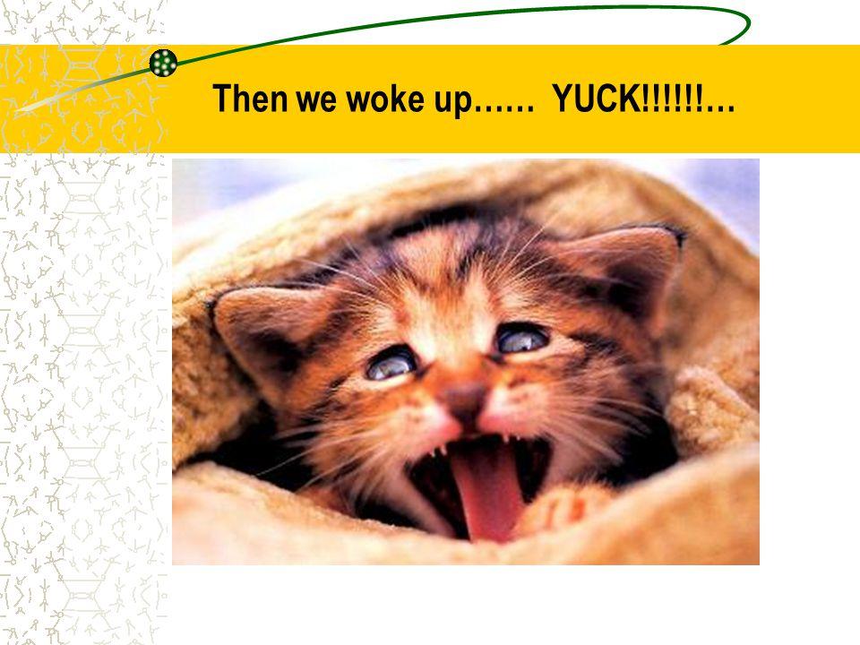 Then we woke up…… YUCK!!!!!!…