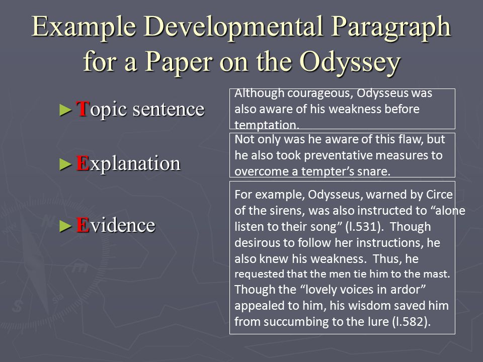 Example Developmental Paragraph for a Paper on the Odyssey ► Topic sentence ► Explanation ► Evidence Although courageous, Odysseus was also aware of his weakness before temptation.