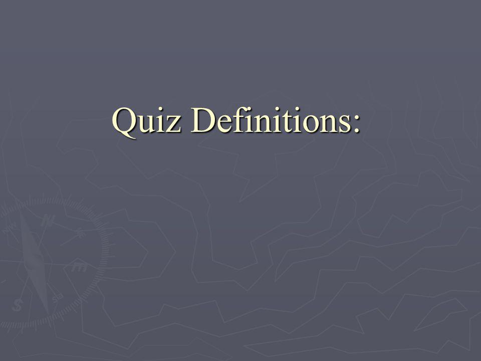 Quiz Definitions:
