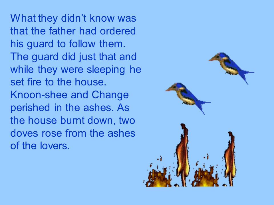 What they didn't know was that the father had ordered his guard to follow them. The guard did just that and while they were sleeping he set fire to th