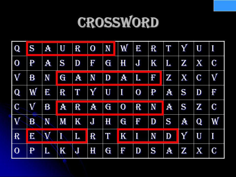Crossword QSAURONWERTYUI OPASDFGHJKLZXC VBNGaNDALFZXCV QWERTYUIOPASDF CVBaRAGORNASZC VBNMKJHGFDSAQW REVILRTKINDYUI OPLKJHGFDSAZXC