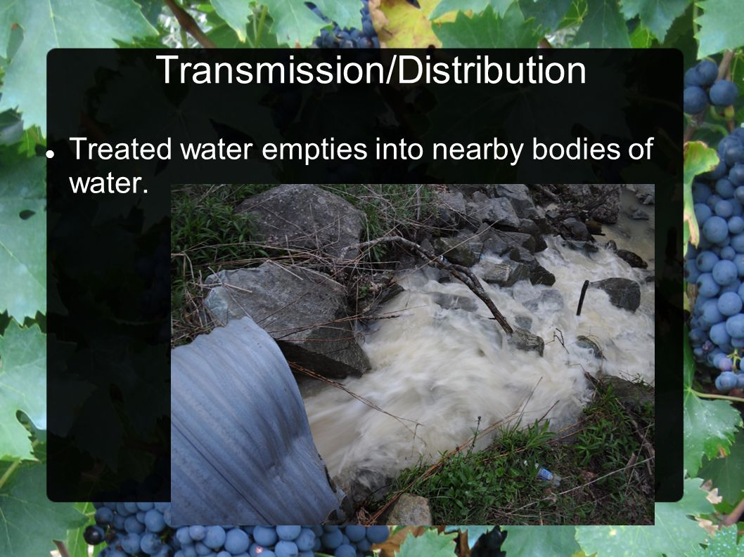 Treated water empties into nearby bodies of water.