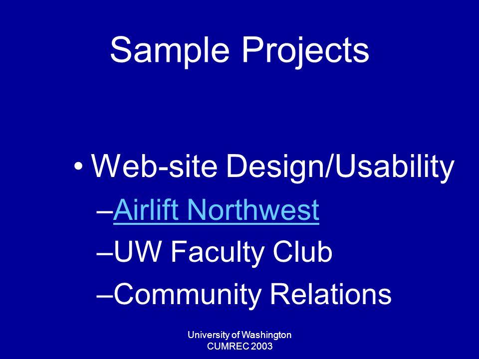 University of Washington CUMREC 2003 Sample Projects Web-site Design/Usability –Airlift NorthwestAirlift Northwest –UW Faculty Club –Community Relations