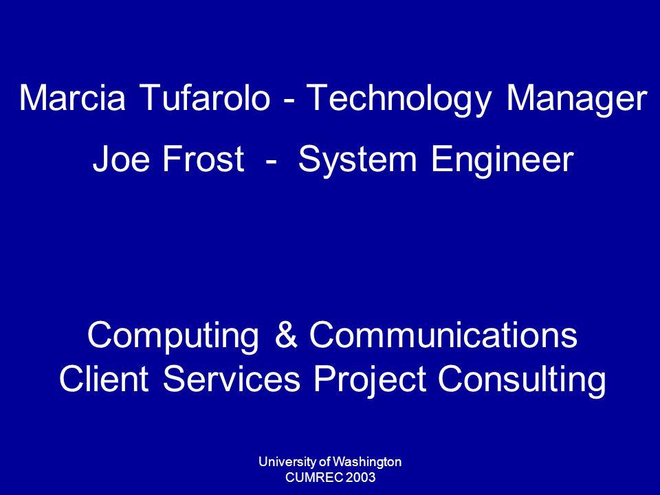 University of Washington CUMREC 2003 Project Elements Project Work : –Design Specifications & Prototype –Implementation Develop/Test/Deploy