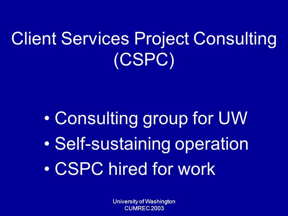 University of Washington CUMREC 2003 Project Elements On-going Support –Application maintenance –Enhancements