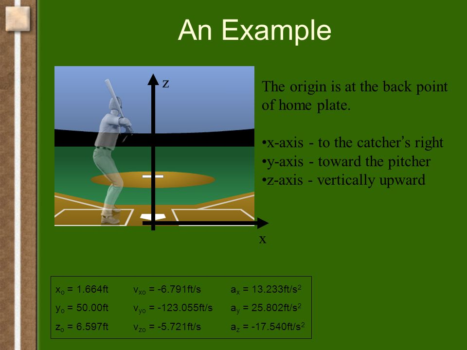 An Example x z The origin is at the back point of home plate.