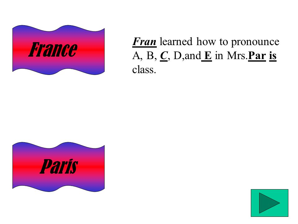 Paris France Fran learned how to pronounce A, B, C, D,and E in Mrs.Par is class.
