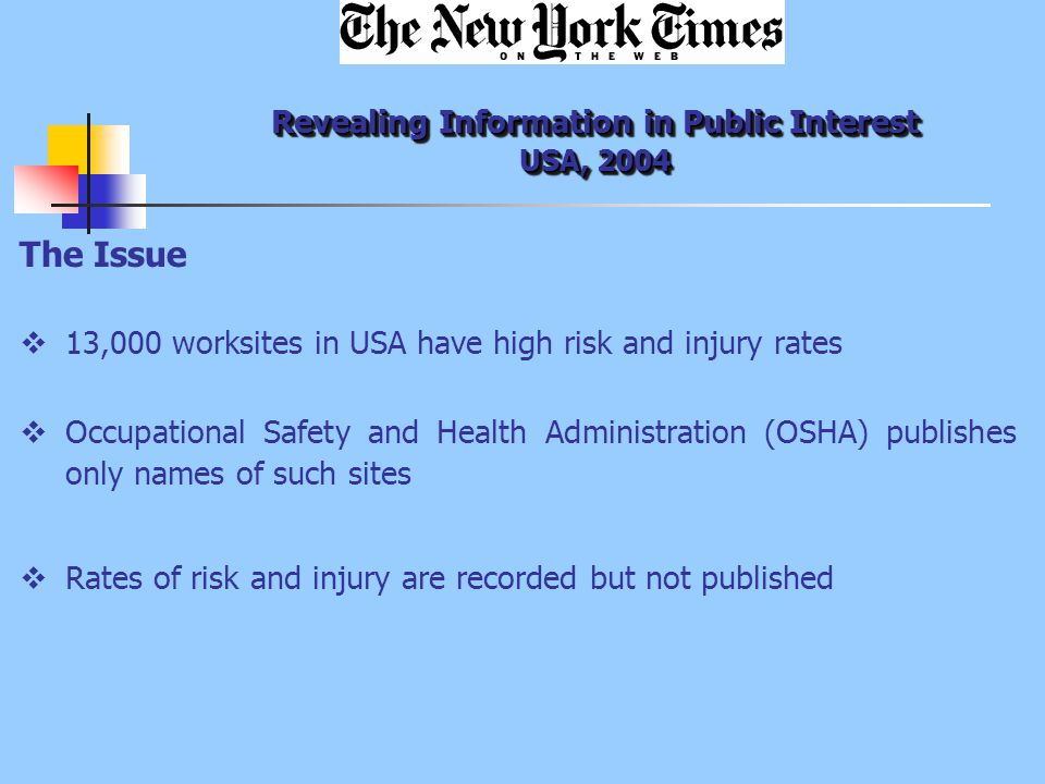 Revealing Information in Public Interest USA, 2004 The Issue  13,000 worksites in USA have high risk and injury rates  Occupational Safety and Health Administration (OSHA) publishes only names of such sites  Rates of risk and injury are recorded but not published