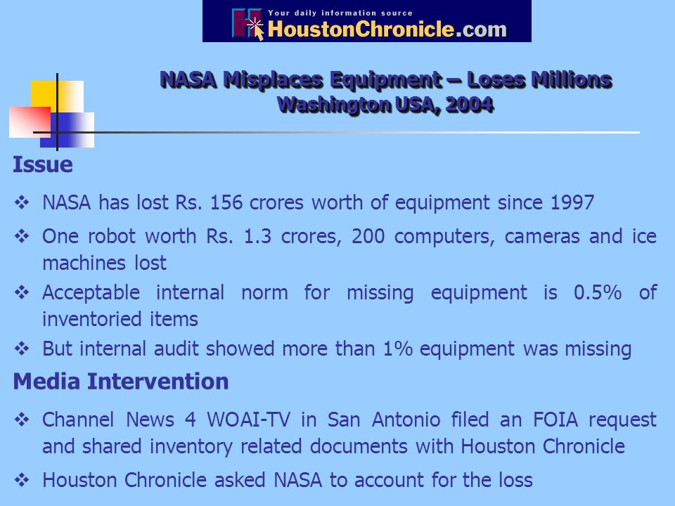 NASA Misplaces Equipment – Loses Millions Washington USA, 2004 Issue  NASA has lost Rs.