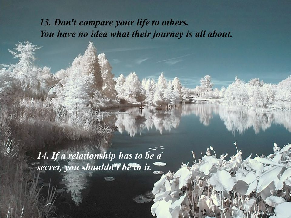 13.Don t compare your life to others. You have no idea what their journey is all about.