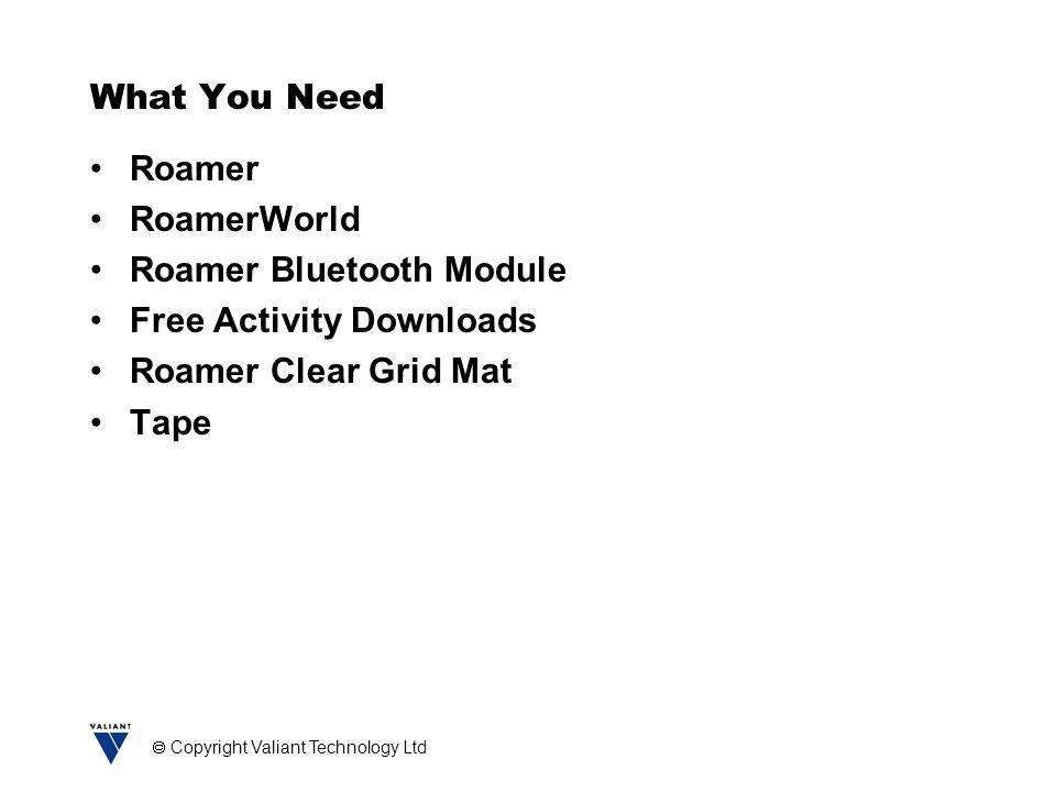  Copyright Valiant Technology Ltd What You Need Roamer RoamerWorld Roamer Bluetooth Module Free Activity Downloads Roamer Clear Grid Mat Tape