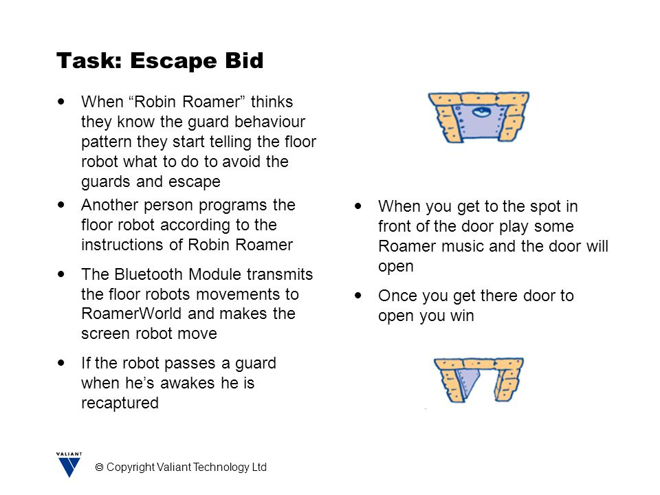 Copyright Valiant Technology Ltd Task: Escape Bid When Robin Roamer thinks they know the guard behaviour pattern they start telling the floor robot what to do to avoid the guards and escape Another person programs the floor robot according to the instructions of Robin Roamer The Bluetooth Module transmits the floor robots movements to RoamerWorld and makes the screen robot move If the robot passes a guard when he's awakes he is recaptured When you get to the spot in front of the door play some Roamer music and the door will open Once you get there door to open you win
