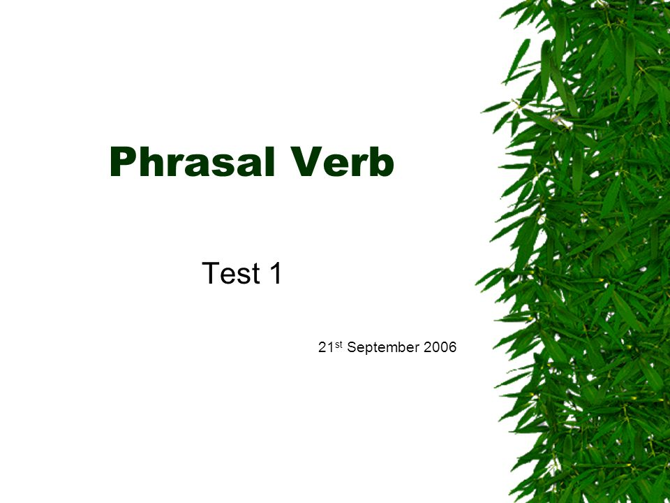 Phrasal Verb Test 1 21 st September 2006