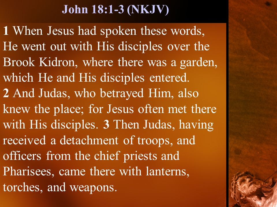 1 When Jesus had spoken these words, He went out with His disciples over the Brook Kidron, where there was a garden, which He and His disciples entered.