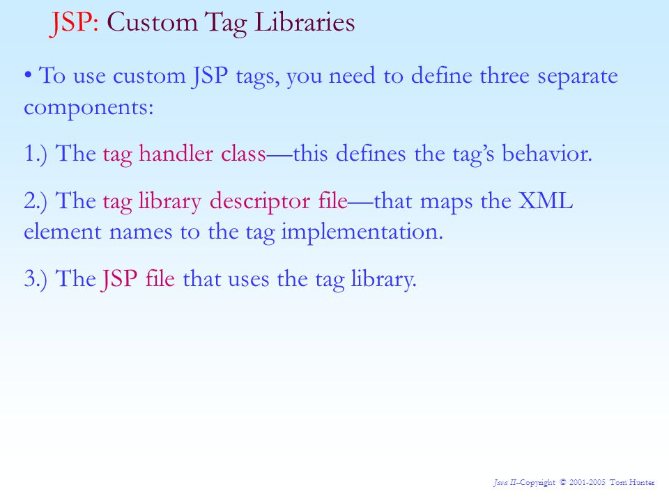 Java II--Copyright © 2001-2005 Tom Hunter JSP: A More Ambitious Tag