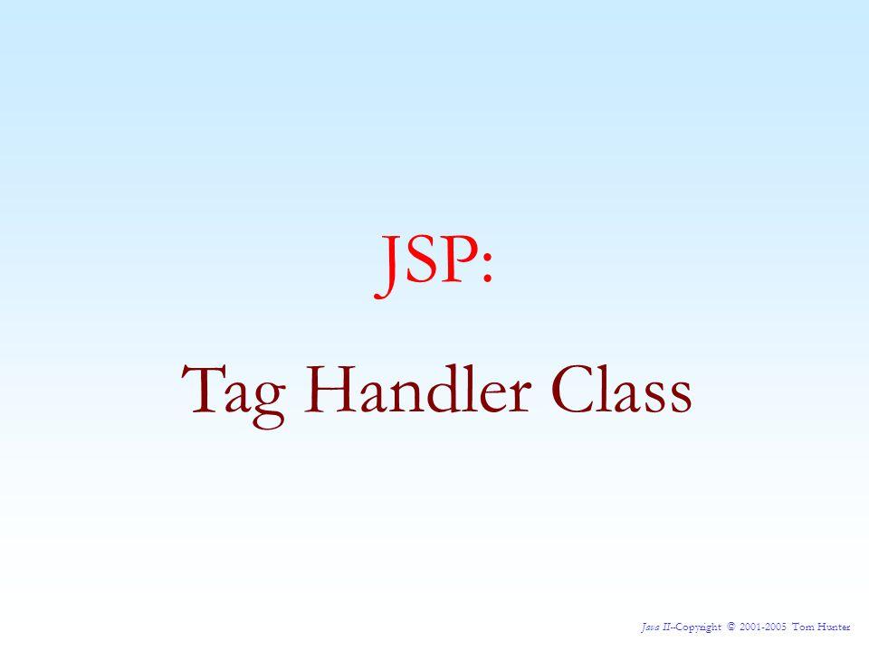 Java II--Copyright © 2001-2005 Tom Hunter JSP: Tag Handler Class