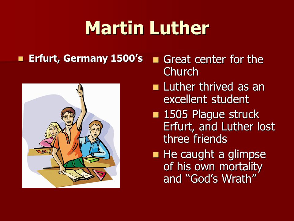 Martin Luther Life in the Monastery Luther joined a very severe monastic order Luther joined a very severe monastic order Luther threw himself into monastic life Luther threw himself into monastic life Did not find the peace he was searching for Did not find the peace he was searching for