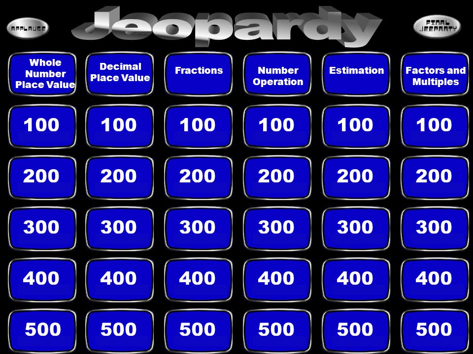 Juan Mark Bob Xavier Steven B 500 Click anywhere on this slide, after you see the answer to return to Jeopardy Game Board