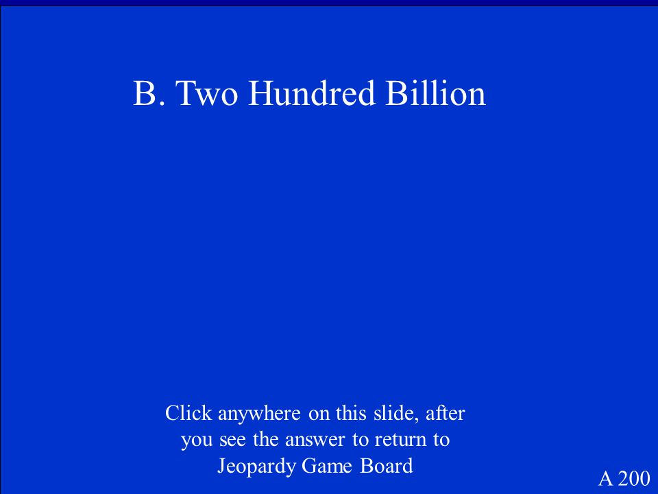 Twenty-four and seventeen thousandths B 200 Click anywhere on this slide, after you see the answer to return to Jeopardy Game Board