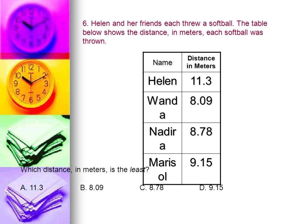 6. Helen and her friends each threw a softball.