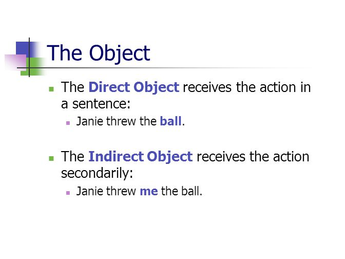 The Object The Direct Object receives the action in a sentence: Janie threw the ball.