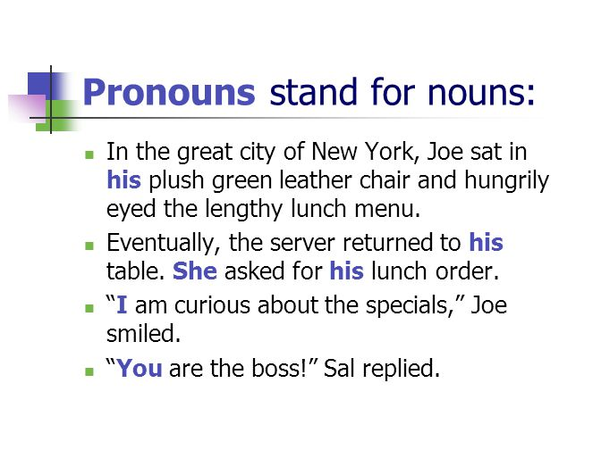 Pronouns stand for nouns: In the great city of New York, Joe sat in his plush green leather chair and hungrily eyed the lengthy lunch menu.
