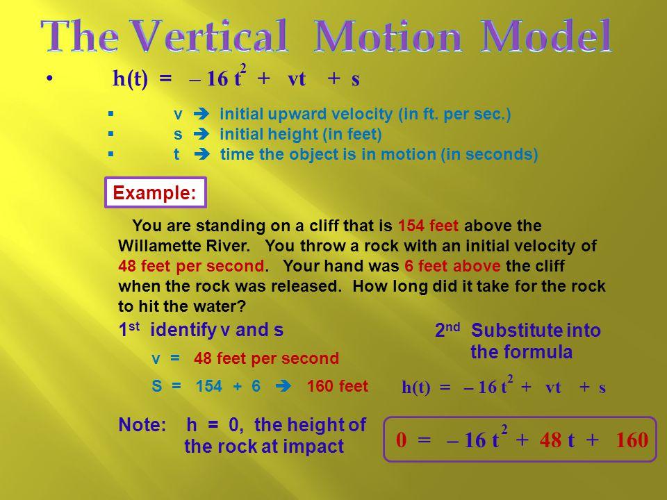 2 h(t) = – 16 t + vt + s  v  initial upward velocity (in ft.