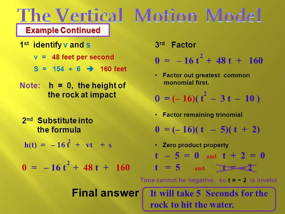 0 = – 16 t + 48 t + 160 h(t) = – 16 t + vt + s 2  v  initial upward velocity (in ft.