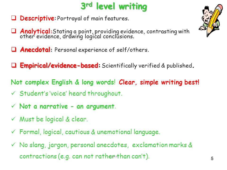 copyright FJ 2011 5 3 rd level writing  Descriptive: Portrayal of main features.  Analytical :Stating a point, providing evidence, contrasting with