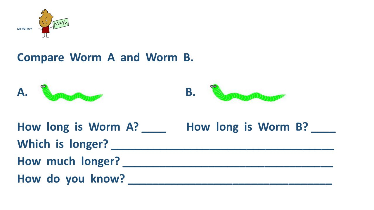 MONDAY Compare Worm A and Worm B. A. B. How long is Worm A.