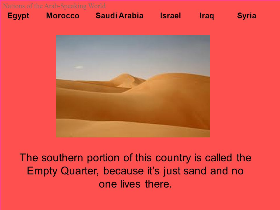 Egypt Morocco Saudi Arabia Israel Iraq Syria Nations of the Arab-Speaking World The southern portion of this country is called the Empty Quarter, beca