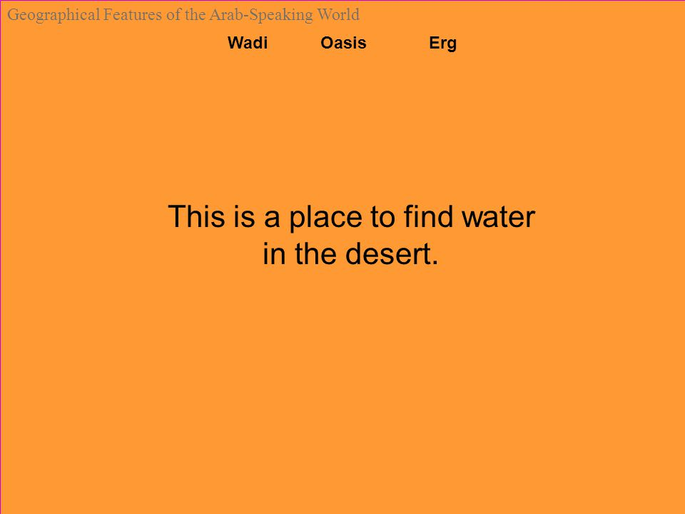 Wadi Oasis Erg Geographical Features of the Arab-Speaking World This is a place to find water in the desert.