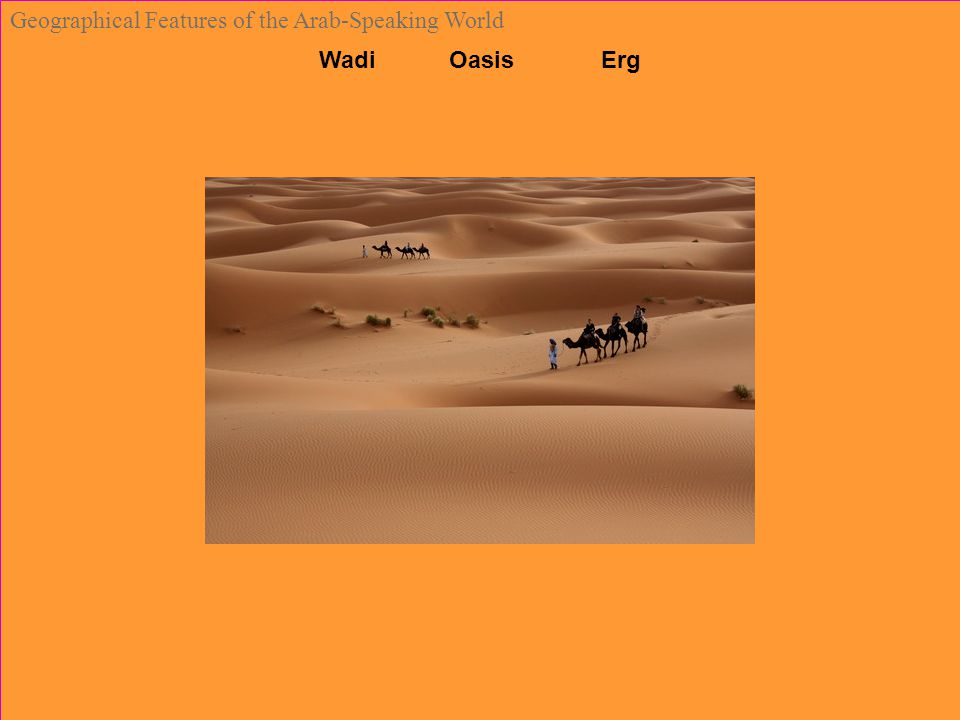 Wadi Oasis Erg Geographical Features of the Arab-Speaking World