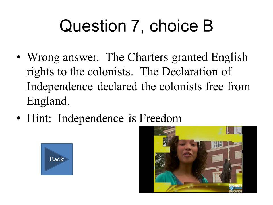 Question 7, choice A Correct!! Next