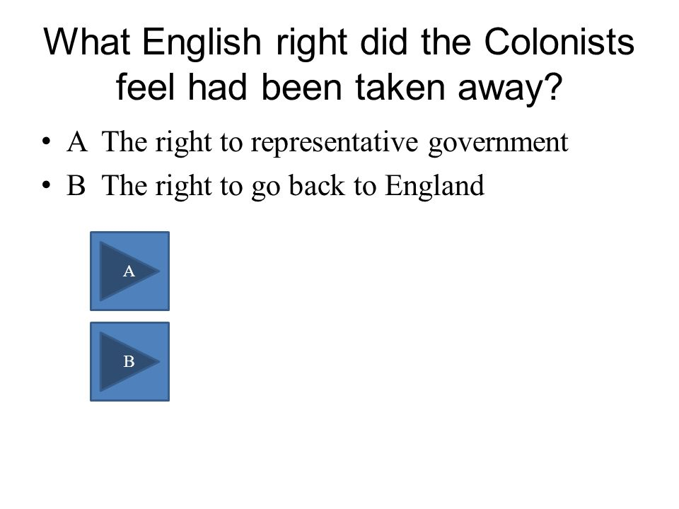 What English right did the Colonists feel had been taken away.