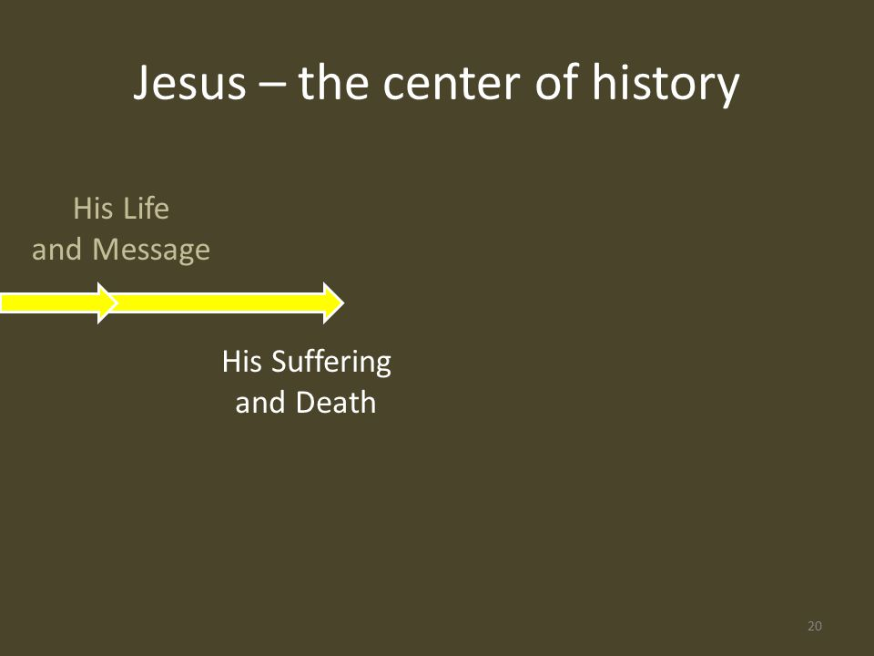 His Life and Message His Suffering and Death Jesus – the center of history 20