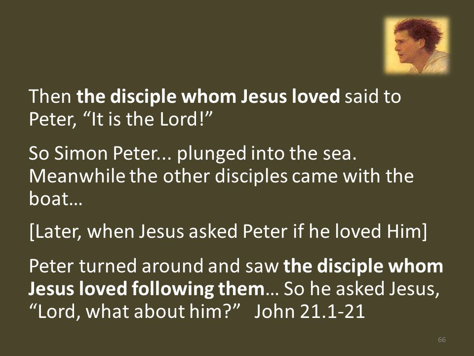 Then the disciple whom Jesus loved said to Peter, It is the Lord! So Simon Peter...