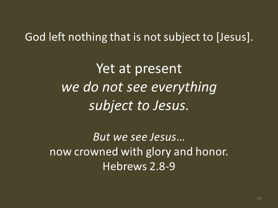 God left nothing that is not subject to [Jesus].